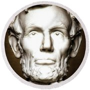 Statue Of Abraham Lincoln - Lincoln Memorial #5 Round Beach Towel