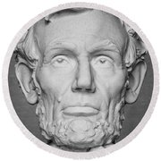 Statue Of Abraham Lincoln - Lincoln Memorial #6 Round Beach Towel