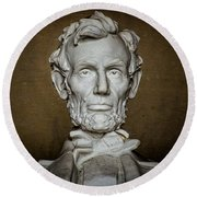 Statue Of Abraham Lincoln - Lincoln Memorial #7 Round Beach Towel