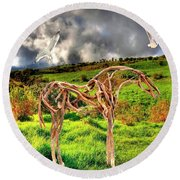 Statue Of Branches 3 Round Beach Towel