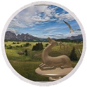 Statue Of Deer 3 Round Beach Towel