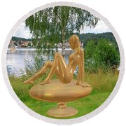 Statue Of Girl 2 Round Beach Towel