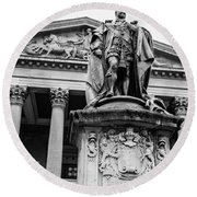 Statue Of King Edward Vii Round Beach Towel