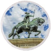 Statue Of King John I Lisbon Round Beach Towel