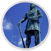 Statue Of Leif Ericksson  Round Beach Towel