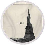 Statue Of Liberty, 1909 Round Beach Towel