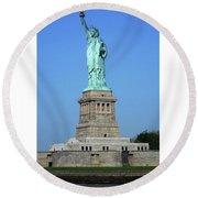 Statue Of Liberty 3 Round Beach Towel