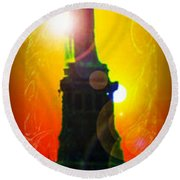 Statue Of Liberty 7 Round Beach Towel