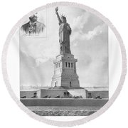 Statue Of Liberty And Bartholdi Portrait Round Beach Towel by War Is Hell Store