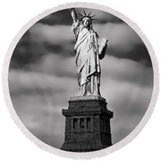 Statue Of Liberty At Dusk Round Beach Towel