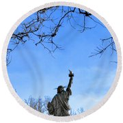 Statue Of Liberty Back View  Round Beach Towel