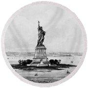 Statue Of Liberty, C1886 Round Beach Towel