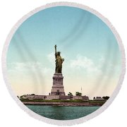 Statue Of Liberty, C1905 Round Beach Towel