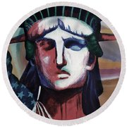 Statue Of Liberty Hb5t Round Beach Towel
