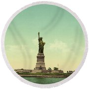 Statue Of Liberty, New York Harbor Round Beach Towel
