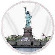 Statue Of Liberty, New York Sketch Round Beach Towel