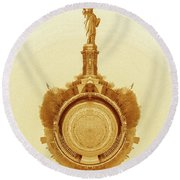 Statue Of Liberty Old Yellow World Round Beach Towel