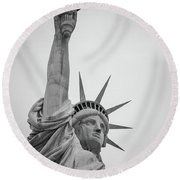 Statue Of Liberty, Portrait Round Beach Towel