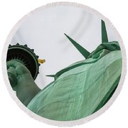 Statue Of Liberty, Torch And Crown Round Beach Towel