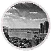 Statue Of Liberty View Round Beach Towel