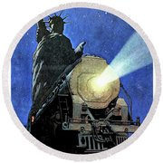 Statue Of Liberty With Steam Train, We Shall Not Fail Round Beach Towel