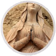 Statue Of Mary Closeup Round Beach Towel