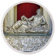 Statue Of The Greek River God Tiberinus At The Vatican Museum Round Beach Towel