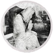 Statue Of Weeping Woman, Lafayette Cemetery, New Orleans In Black And White Sketch Round Beach Towel