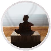 Statue On The Beach Round Beach Towel
