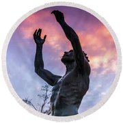 Statue Reaching To The Sky Round Beach Towel