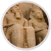 Statues At Abu Simbel Round Beach Towel