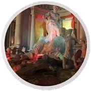 Statues At Ceasars Palace Round Beach Towel