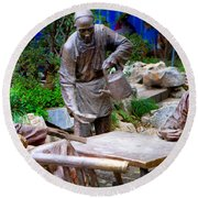 Statues Of After Noon Tea Round Beach Towel