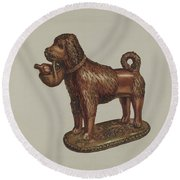 Statuette Of A Dog Round Beach Towel