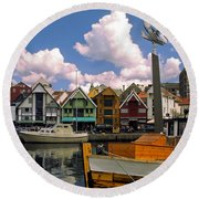 Stavanger Harbor Round Beach Towel