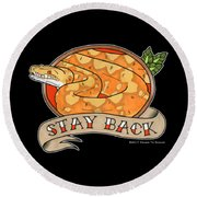 Stay Back Reticulated Python Round Beach Towel