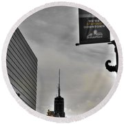 Staying Downtown Round Beach Towel