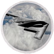 Stealth Bomber Over The Clouds Round Beach Towel