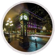 Steam Clock In Gastown Vancouver Bc At Night Round Beach Towel