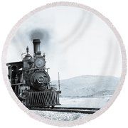 Steam Engine Round Beach Towel by Michael Chatt