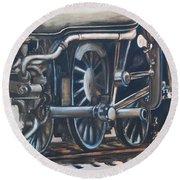 Steam Engine Wheels Round Beach Towel