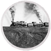 Steam Engines Pulling A Train Round Beach Towel