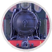 Steam Locomotive Train Round Beach Towel