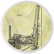 Steam Powered Oil Well Patent Round Beach Towel