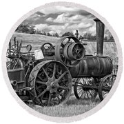 Steam Powered Tractor - Paint Bw Round Beach Towel