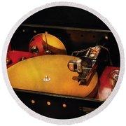 Steam Punk - Hey Dj Make Some Noise Cine-music System Round Beach Towel by Mike Savad