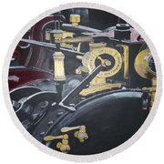Steam Tractor Round Beach Towel by Richard Le Page