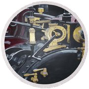 Steam Tractor Round Beach Towel
