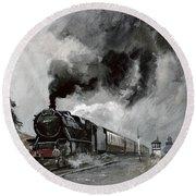 Steam Train At Garsdale - Cumbria Round Beach Towel