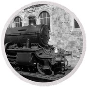 Steam Train In Station Round Beach Towel